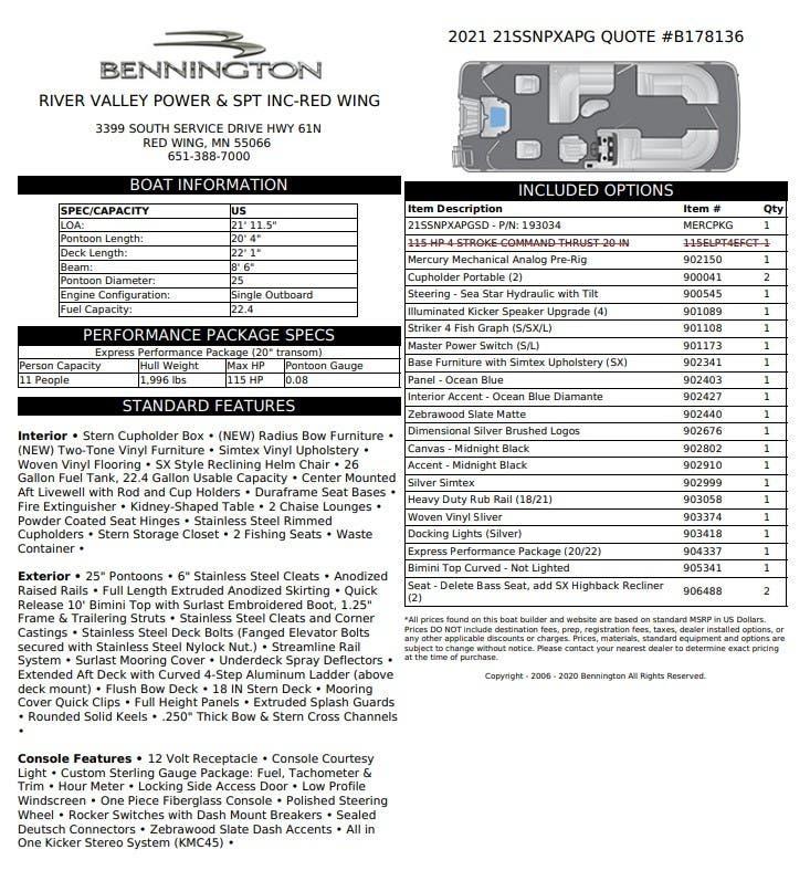 Bennington SX Series 21 SSNPX APG - REAR FISH