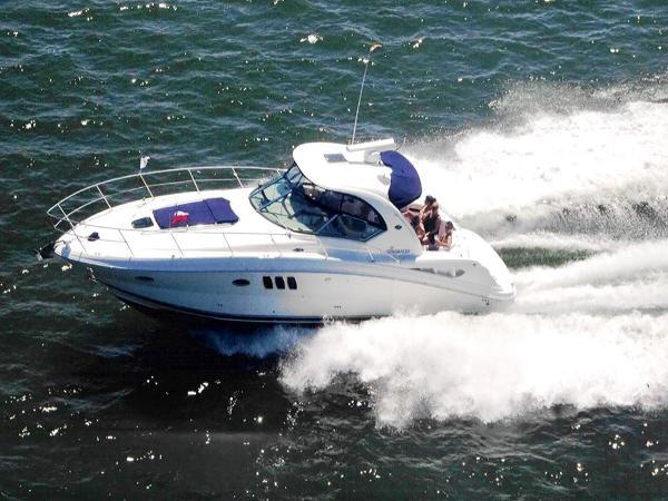 Sea Ray 38 Sundancer Underway - Running Port Side