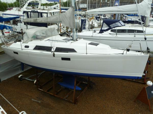 Hanse 320 Ashore on Michael Schmidt display line, clean and antifouled for next owner.