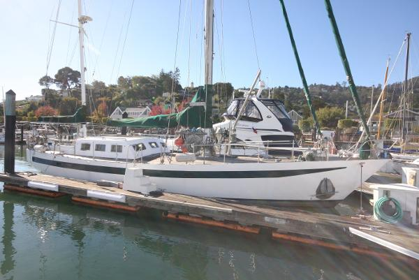 Brewer cutter rigged pilothouse ketch Lying in the Sausalito Yacht Harbor
