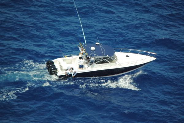 Fountain 38 LX Sportfish Airial View with Marlin