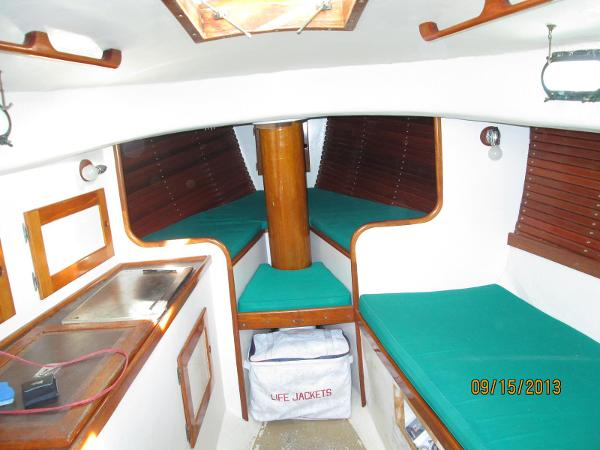 cabin forward, galley to port