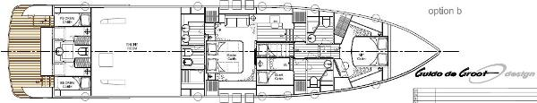 Aqualiner 77 Lower Deck Option B Layout Plan