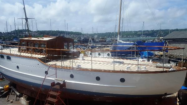 Classic 1935 Wooden Motor Yacht Gentleman's Yacht out of the water