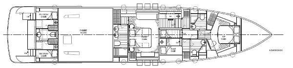 Aqualiner 77 Lower Deck Layout Plan