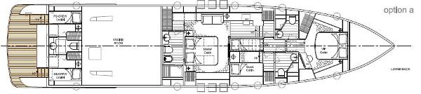 Aqualiner 77 Lower Deck Option A Layout Plan