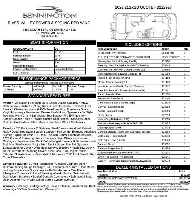 Bennington SX Series 21 SSBX - SWINGBACK