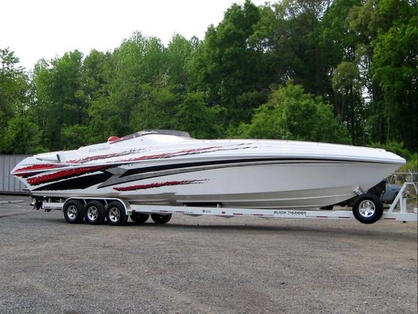 Black Thunder 46SC Starboard on Trailer
