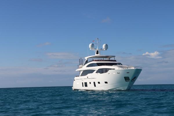 Princess 30M Princess III taking in Bahamian Sun