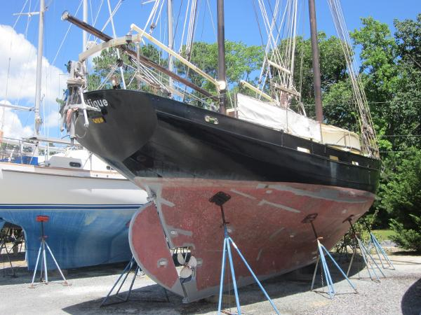 Steel Gaff-rigged Ketch - on the hard