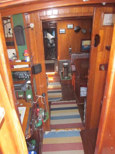 Steel Gaff-rigged Ketch - interior from companionway