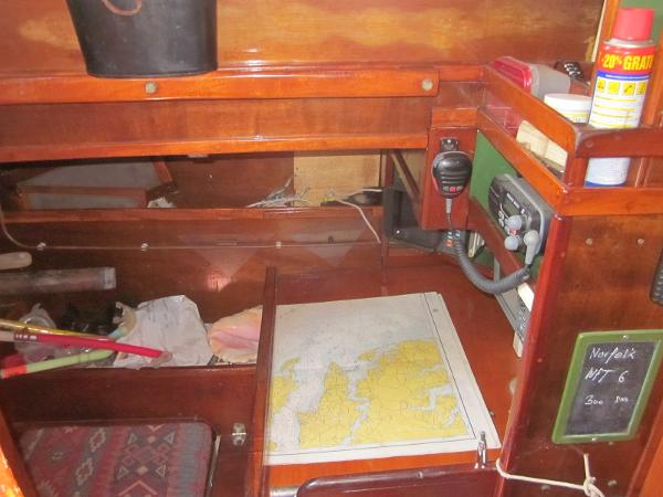 Steel Gaff-rigged Ketch - Chart Table port of companionway