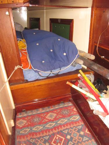 Steel Gaff-rigged Ketch - Small quarterberth aft of Chart table