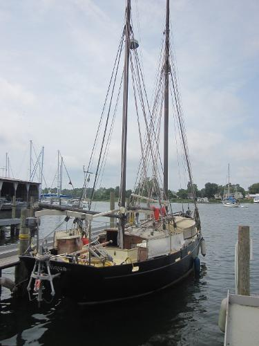 Steel Gaff-rigged Ketch - on the dock