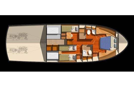 Optional 3 stateroom arrangement.