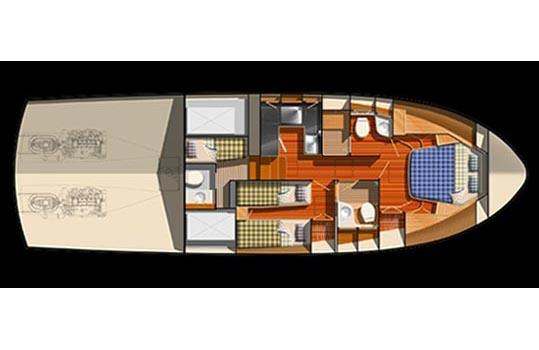 Optional arrangement with crew quarters.