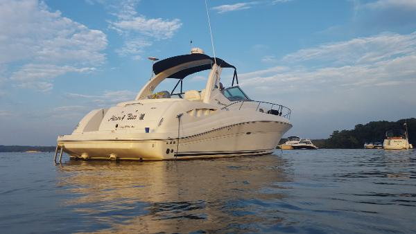Sea Ray 340 Sundancer Here 4 Beer at anchor