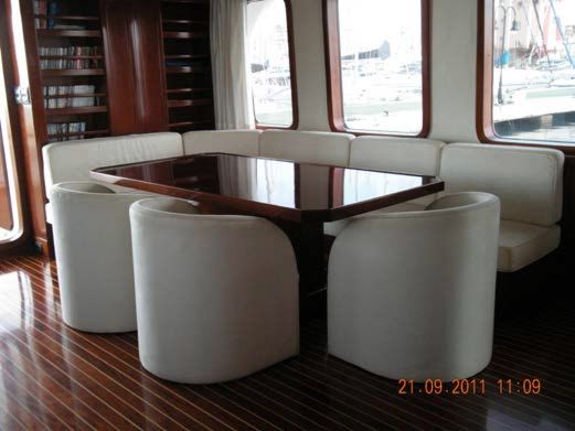 Salon Port Side Dining Table Looking Aft