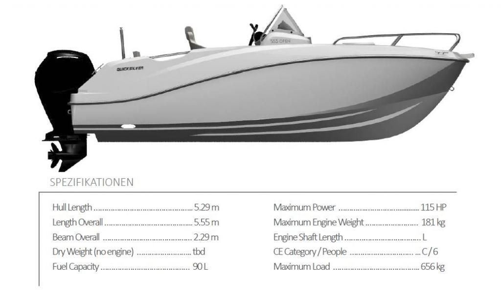Quicksilver Activ 555 Open  100 PS MESSEBOOT