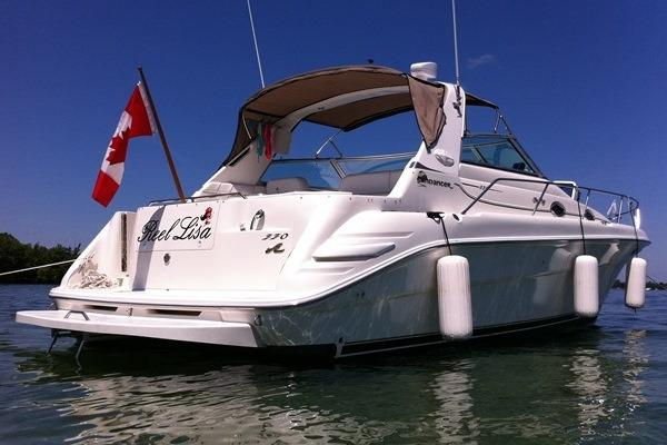 Sea Ray 330 Sundancer Transom View w. Extended Swim Platform