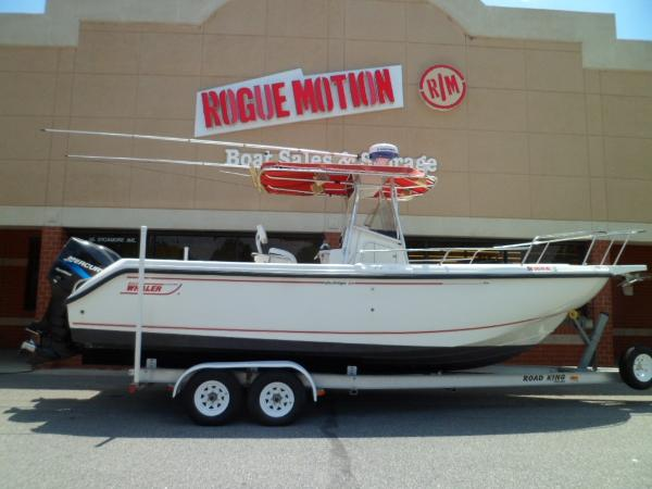 Boston Whaler 26 Outrage STARBOARD ON TRAILER