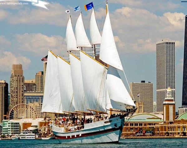 Schooner 4 Masted Gaff Rigged Under full sail in Chicago