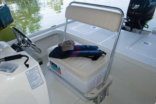 Manufacturer Provided Image: The flip-flop helm seat also houses a 72-quart cooler.