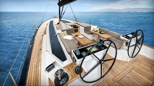 Bavaria C65 Helm position looking forward