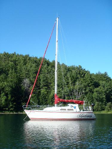 Express 30 Relaxed at anchor