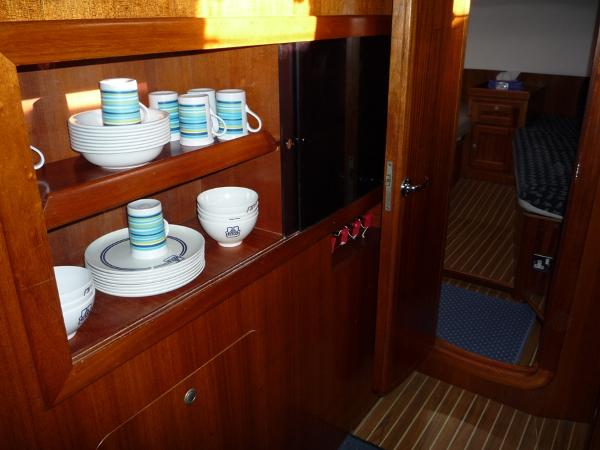 Dufour 39 CC for sale - Crockery cabinet in galley