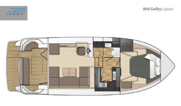Broom 35 Coupe Layout Mid Galley