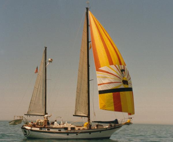 Spinnaker set on port tack
