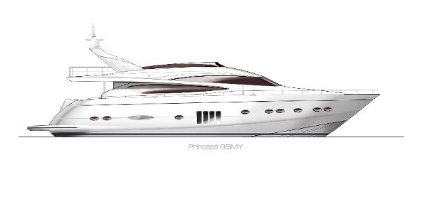 Princess Flybridge 85 Motor Yacht Profile White Hull