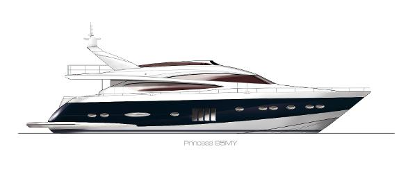 Princess Flybridge 85 Motor Yacht Profile Blue Hull
