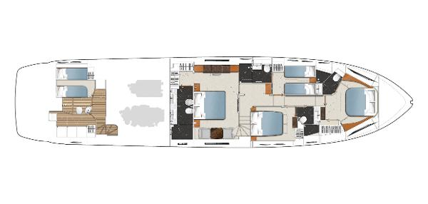 Princess Flybridge 82 Motor Yacht Lower Deck Layout