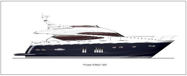 Princess Flybridge 78 Motor Yacht Profile Blue Hull