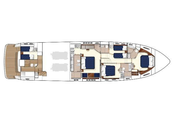Princess Flybridge 78 Motor Yacht Lower Accommodation Layout