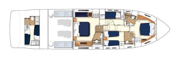 Princess Flybridge 64 Motor Yacht Lower Accommodation Layout