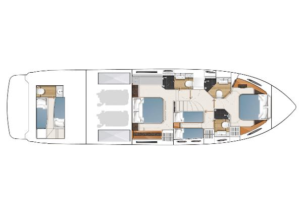 Princess Flybridge 60 Motor Yacht Lower Accommodation Layout