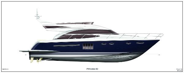 Princess Flybridge 60 Motor Yacht Profile Blue Hull