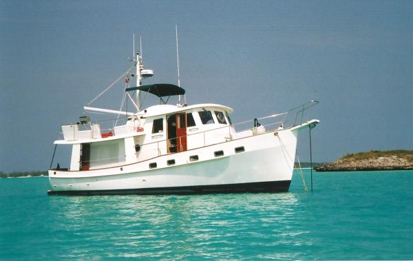 Kadey Krogen Raised Pilothouse Trawler 42' Kadey Krogen at anchor