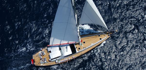 28 m Sloop Sailing aerial view