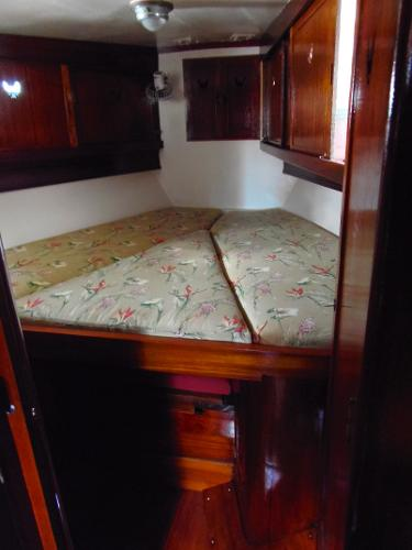 In the bow is a V-berth that converts to a king-size bed.