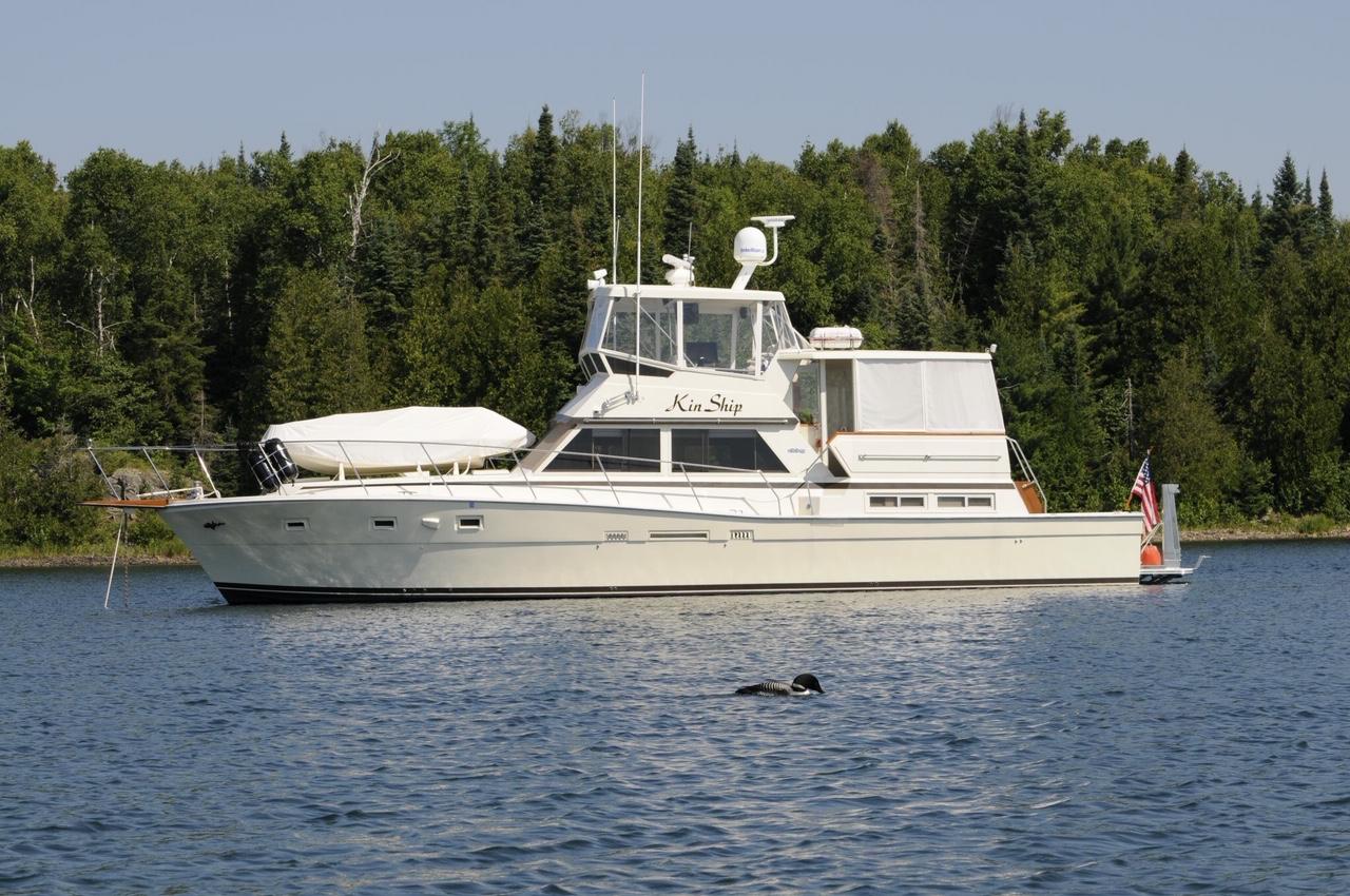 Viking 50 Motor Yacht Starboard at anchor
