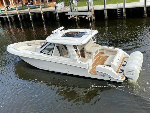 Boston Whaler 380 Realm Profile Engines are now Painted Grey
