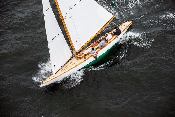 Classic Yacht R Class Racing Yacht Ruweida V winning a classic yacht race