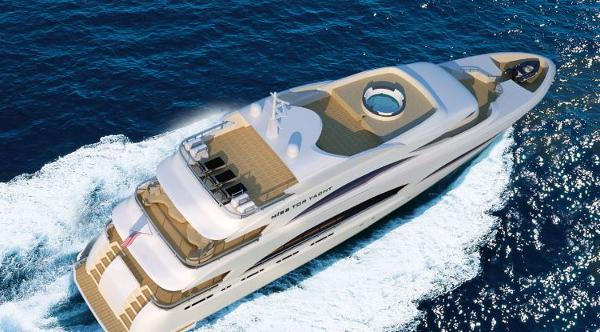 Miss Tor Yacht 130 Tri-Deck Aerial View