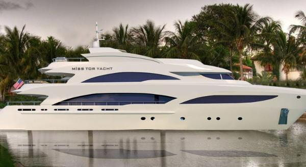 Miss Tor Yacht 130 Tri-Deck Side View