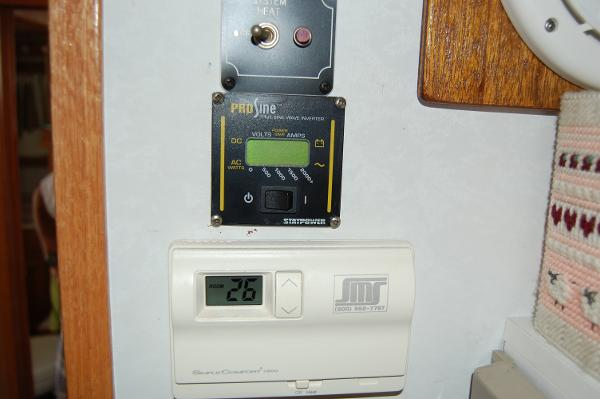 Cabin heat and interver controls in galley