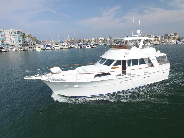 Hatteras Motoryacht Heading out to Sea